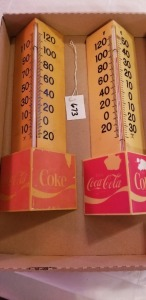 2 Coca'Cola Advertising thermometers