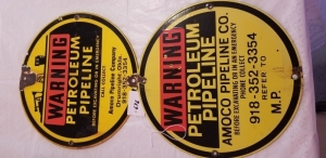 "2 - 12""Porcelain Waring Post Signs"