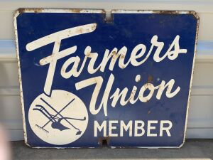 Farmers Union Tin Tacker Sign