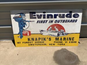 Evinrude Embossed Tin Tacker Sign