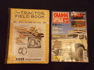 "1954 Tractor Field Book and ""Charge Utile Magazine"" (2)"
