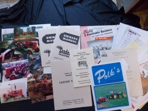 Large Group of Misc. Leader Tractor items including, photographs, copies of literature etc.