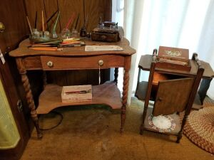 Antique Tables And Fountain Pens Lot
