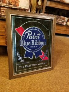 Pabst Blue Ribbon Mirror Beer Sign