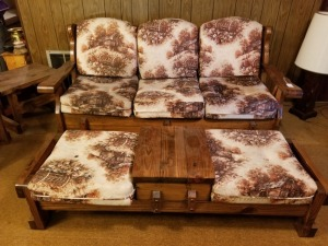 6 FT Wood Framed Furniture Couch And Footrest