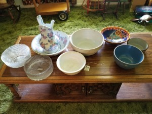 Glass Bowls And Pitcher Lot