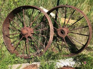 Old tractor front steel wheels