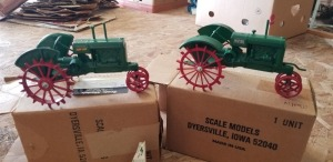 1/16th Scale Models Oliver (2)-serial numbered Row Crop narrow front tractors on steel w/fenders
