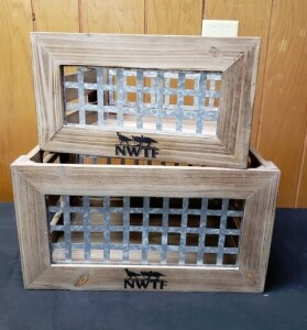 Set of 2 Wood and Metal Crates #13932TF