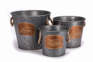NP Set of 3 Vintage Galvanized Look Pails with Copper Logo