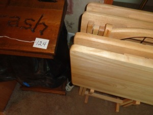 Wooden Trash Bin and wooden Tv Trays