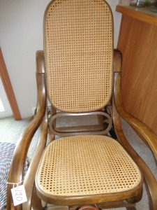 Wicker Seat and Back wooden Rocker