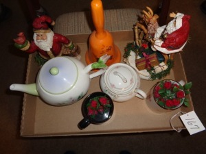 Teapots, Christmas, bells etc..