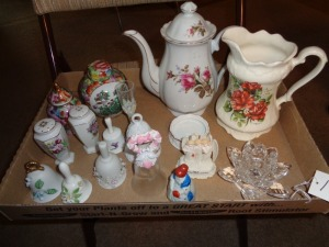 Teapots, bells, candle holder, etc..