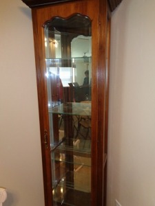 Curio Lighted cabinet w/ for glass shelves