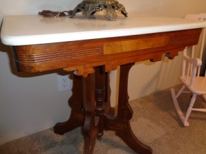 Marble top rectangle top parlor table