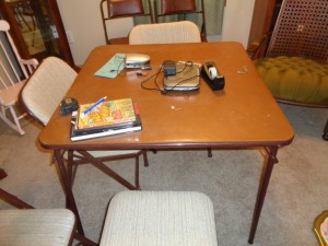 Card Table and 6 chairs. 4 matching