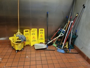 Mop Buckets And Assorted Brooms Lot