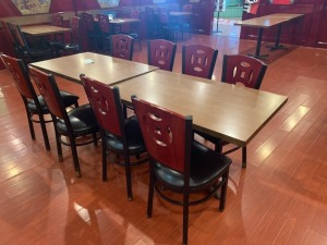 (2) Restaurant Tables And (8) Chairs