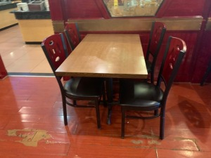 (1) Restaurant Table And (4) Chairs