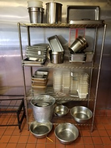 PANS, STRAINERS, PLASTIC TUBS LOT