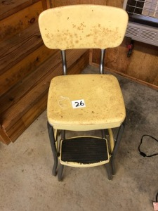 Antique Metal Kitchen Step Stool Chair