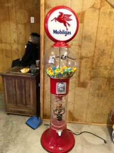 Large Gumball Machine with Mobil Gas Globe