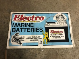 2 Electro Marine Batteries Sold Here Paper Display Covers