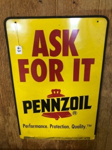 Ask For it Pennzoil Curb Sign Top only