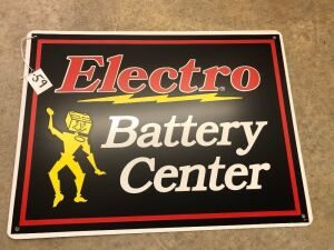 2 Electro Battery Center Signs SST New Old Stock