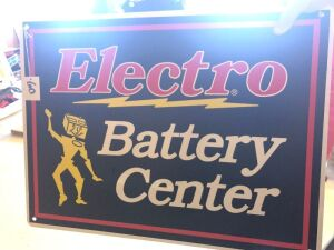 1 Electro Battery Center Sign SST New Old Stock