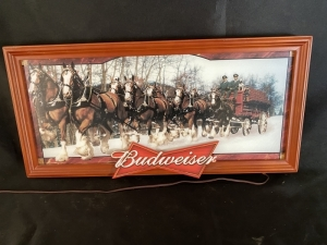 Lighted Budweiser Clydesdale Sign