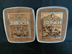 Two Plastic Busch Beer Signs