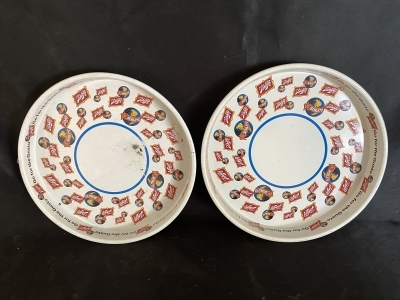 Two Metal Schlitz Serving Trays