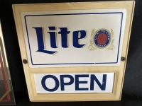 3 Items - Pub Mirror, Miller Lite Open/Closed Sign, Wood Sign - 5
