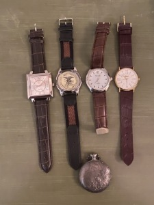 4 Men's Wristwatches and 1 Pocket Watch