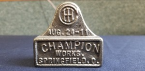 International Harvester Champion Works Springfield, O. Aug. 24-11 desk display/paperweight
