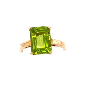 Yellow Peridot Ring. 10k yellow gold ring with 4.5 carat step cut Peridot.