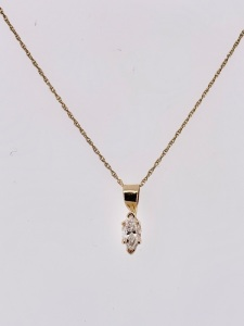 Lady's Yellow 14 Karat Solitaire Pendant Length 18 With One 0.32Ct Marquise G/H Si1 Diamond