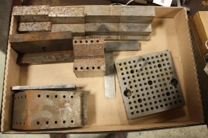 lot of vee blocks, angle plates, step block knee