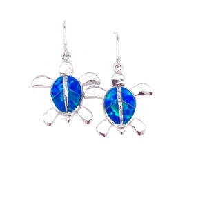 Lady's Sterling Silver Drop Earrings Sea Turtle With Lab Opal