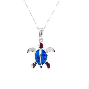 .925 Silver Sea Turtle with lab Opal