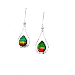 Korite Earrings With 2=8.00X6.00Mm Oval Ammolites with a A Grading Style: Drop Metal: SS Color: White