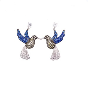 .925 Silver Humming Bird with Pave Sapphire Blue, Lemon Yellow and Clear CZ Earrings