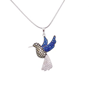 .925 Silver Humming Bird with Pave Sapphire Blue, Lemon Yellow and Clear CZ Pendant