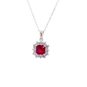 .925 Silver Square Red CZ Surrounded by clear CZ