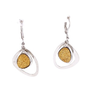 SS Golden Drusy (Coated) Barbara Earrings