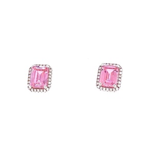 .925 Silver Clear CZ's Halo Design with Large Pink CZ Center