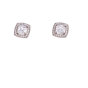 Lady's Sterling Silver Halo Earrings Studs With CZ center and Small Surrounding