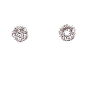 .925 Silver AAA Clear CZ Circle with Moving CZ Center